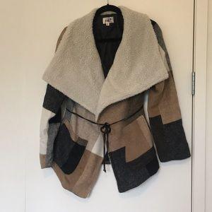 Jolt shearling robe coat with tie belt